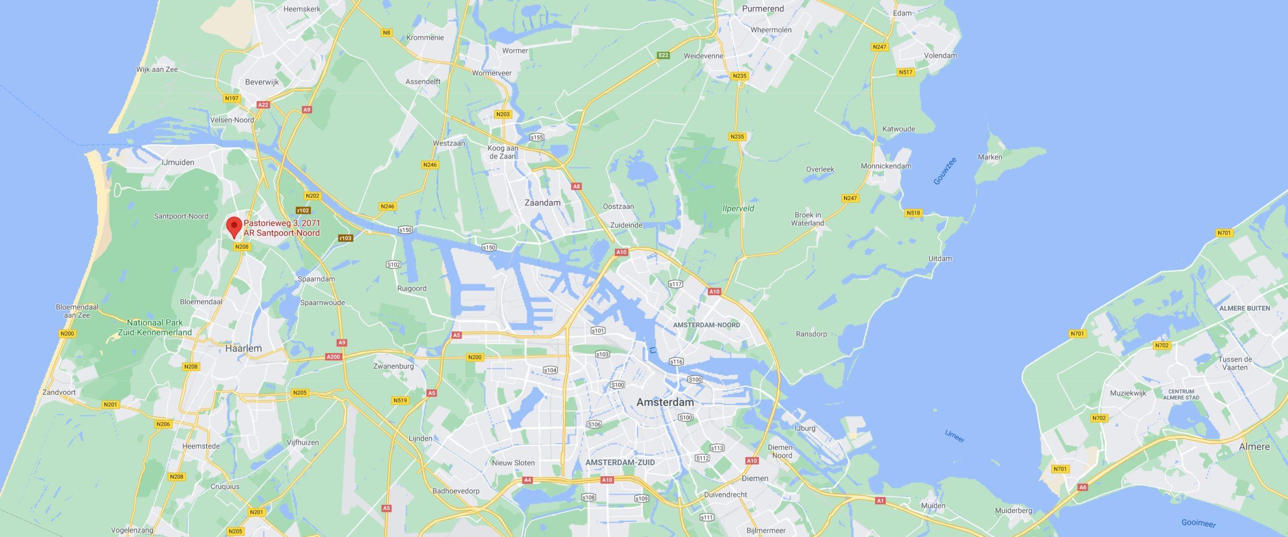 kaart Haarlem-Amsterdam