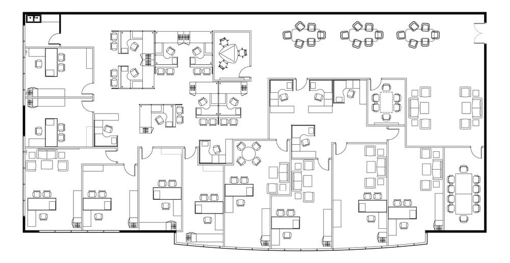 2D Plattegrond van een werkplekinrichting