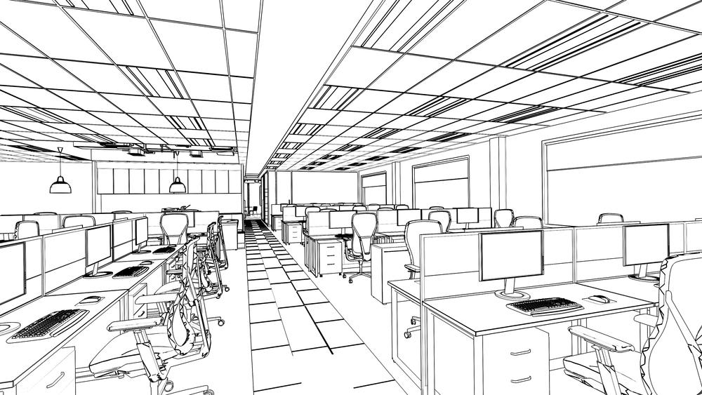 schets werkplekinrichting kantoor 3DD schets